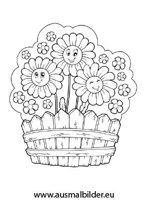 Ausmalbilder Kiste mit Blumen  Blumen Malvorlagen ausmalen