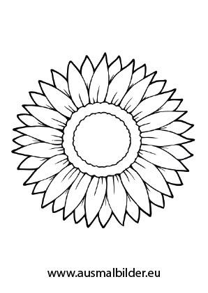 Ausmalbilder Sonnenblume - Blumen Malvorlagen ausmalen