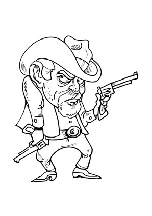 Ausmalbild Alter Cowboy mit Pistole kostenlos ausdrucken