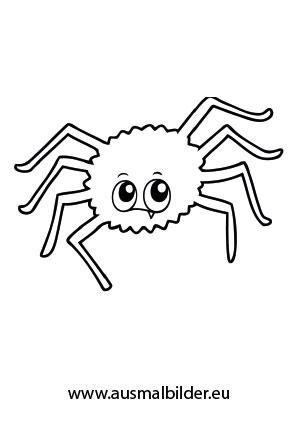 Ausmalbild Fragende Spinne kostenlos ausdrucken