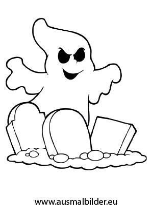 Ausmalbilder Gespenst über Grabsteinen - Halloween Malvorlagen