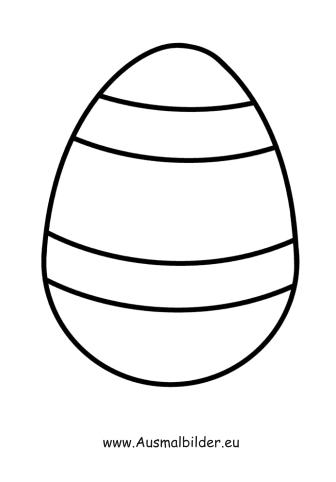 Ausmalbilder Osterei mit Streifen - Ostern Malvorlagen