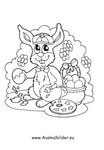 Ausmalbilder Osterhase Malt Osterei An Ostern Malvorlagen