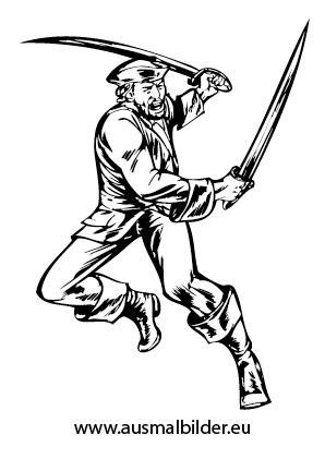 Ausmalbilder Kämpfender Pirat - Piraten Malvorlagen ausmalen