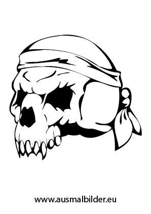 Ausmalbild Totenschädel eines Piraten kostenlos ausdrucken