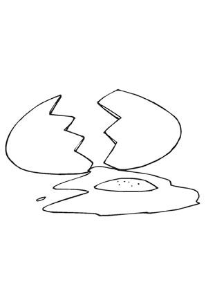 Ausmalbild Zerbrochenes Ei kostenlos ausdrucken