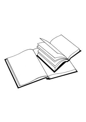 Ausmalbild Hefte kostenlos ausdrucken