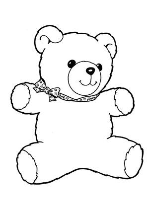 Ausmalbilder teddybär mit schleife - Spielsachen