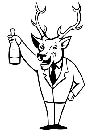Ausmalbilder Hirsch mit Flasche - Hirsche Malvorlagen