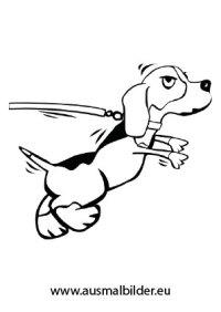 ausmalbild hund an der leine | malvorlagen hunde