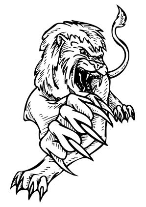 Ausmalbilder Angreifender Löwe - Löwen Malvorlagen