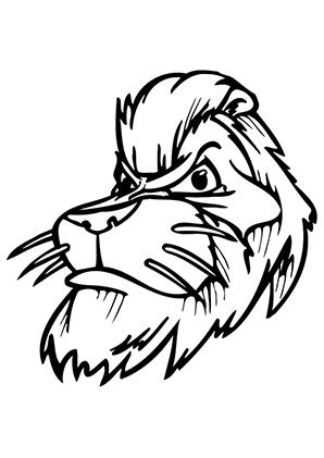 Ausmalbild Löwenkopf zum Ausdrucken