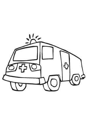 Ausmalbilder Krankenwagen mit Blaulicht  Transport