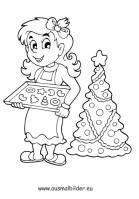 Ausmalbilder Plätzchen backen   Weihnachten Malvorlagen