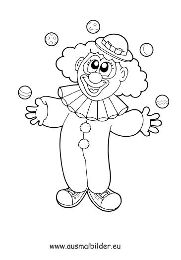 Ausmalbilder Jonglierender Clown Zirkus Malvorlagen