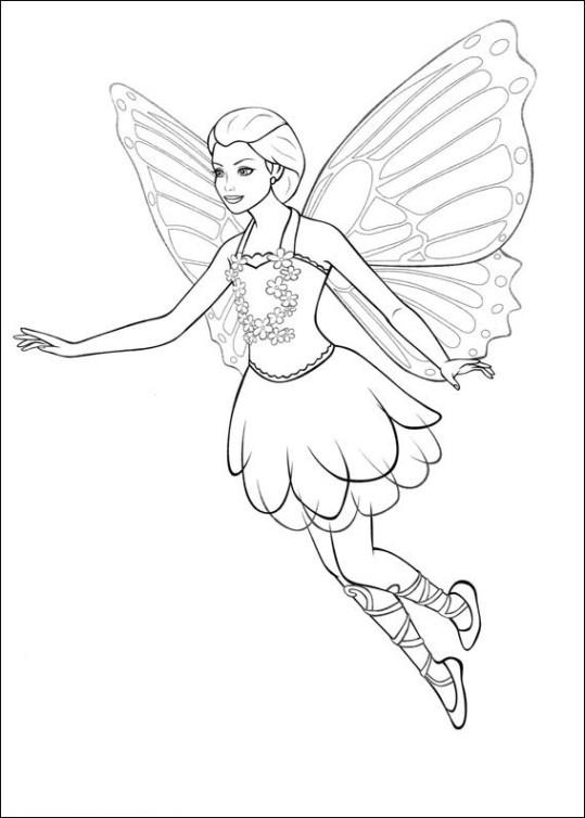 Ausmalbilder für Kinder Barbie Mariposa 2