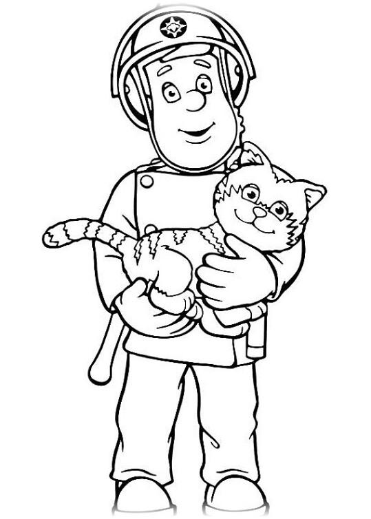 Ausmalbilder für Kinder Feuerwehrmann Sam 1
