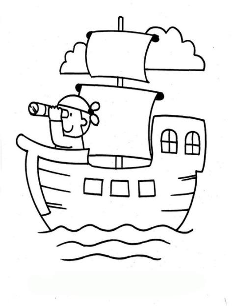 Ausmalbilder für Kinder Piratenschiff 7