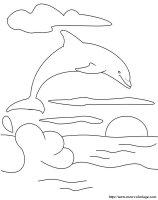 Ausmalbilder Delfin, bild Sonne und Delfine