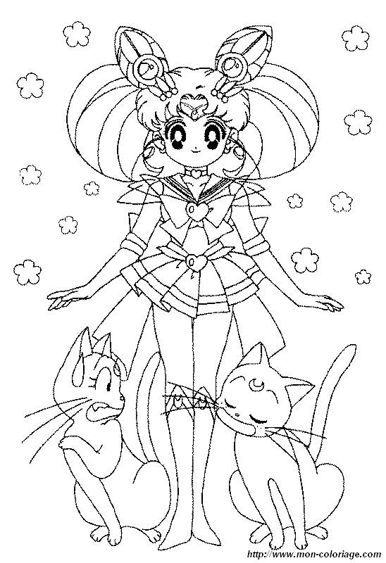 Ausmalbilder Manga Bild Sailor Moon Katzen