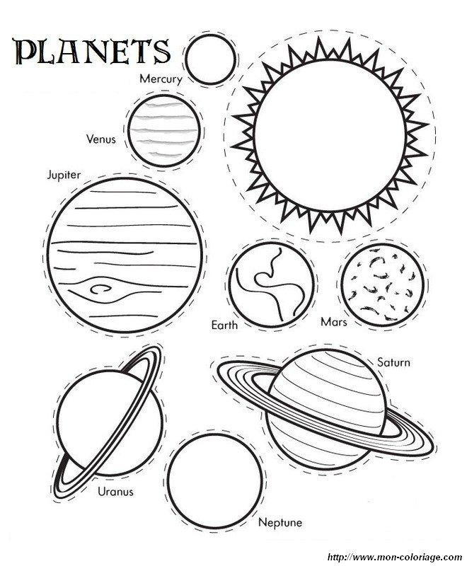 Ausmalbilder Ausschneiden und Scrapbooking bild planeten
