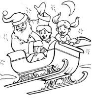 Ausmalbilder Weihnachten, bild Weihnachtsmann Schlitten