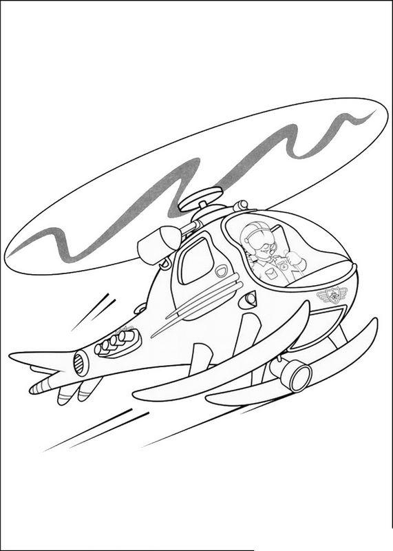 Ausmalbilder Feuerwehrmann Sam bild Hubschrauber am Himmel