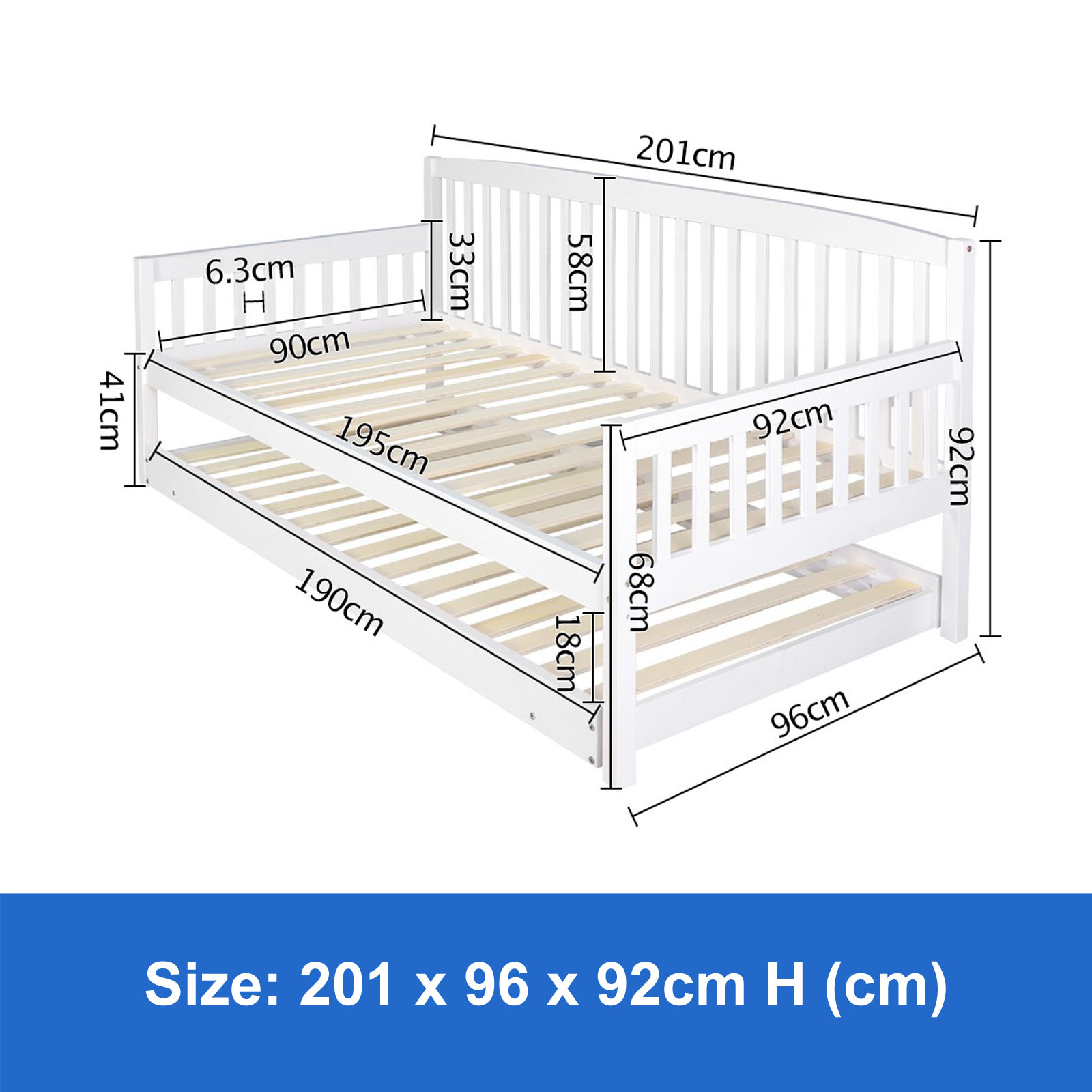 sofa bed timber slats shaker table unfinished new wooden frame white trundle daybed teenager