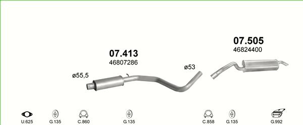 Auspuffe und Abgasrohre für FIAT STILO 1.9 D ab 35,70 EUR,