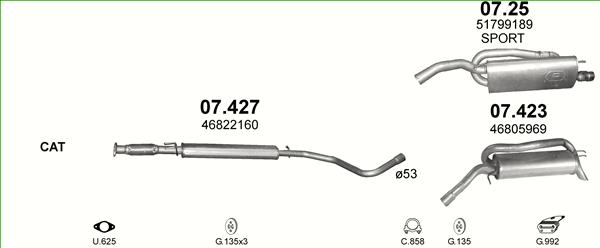 Auspuffe und Abgasrohre für FIAT STILO 1.8 ab 44,63 EUR,