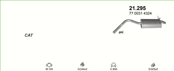 Auspuffe und Abgasrohre für RENAULT KANGOO 1.9 D ab 14,88 EUR,