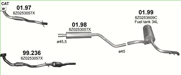 Auspuffe und Abgasrohre für AUDI A2 1.4 ab 20,83 EUR,