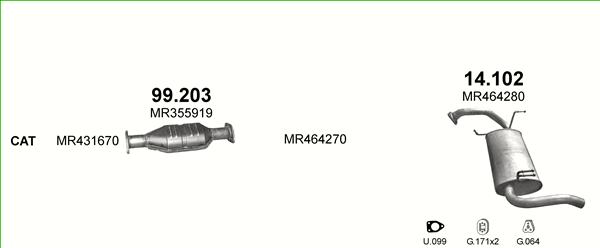 Auspuffe und Abgasrohre für MITSUBISHI SPACE STAR ab 37,19