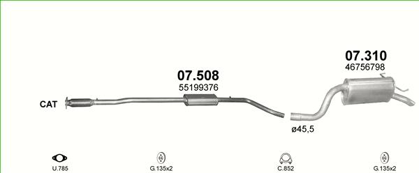 Auspuffe und Abgasrohre für FIAT IDEA 1.4 ab 35,70 EUR,