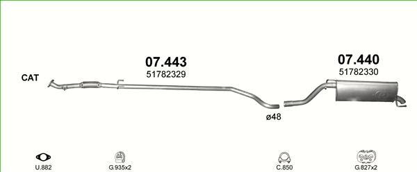 Auspuffe und Abgasrohre für FIAT GRANDE PUNTO 1.3 D ab 35