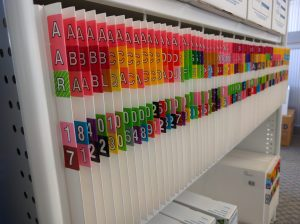 2D files on shelf with large colour coded labels.