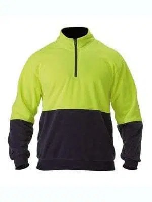 Hi Vis Polar Fleece Zip Pullover - Yellow Navy