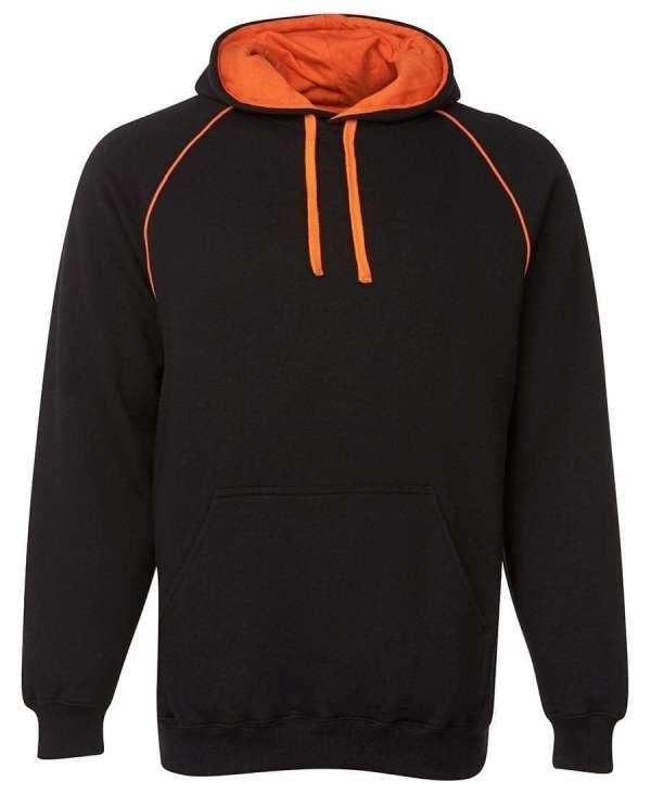 Contrast Fleecy Hoodie black orange