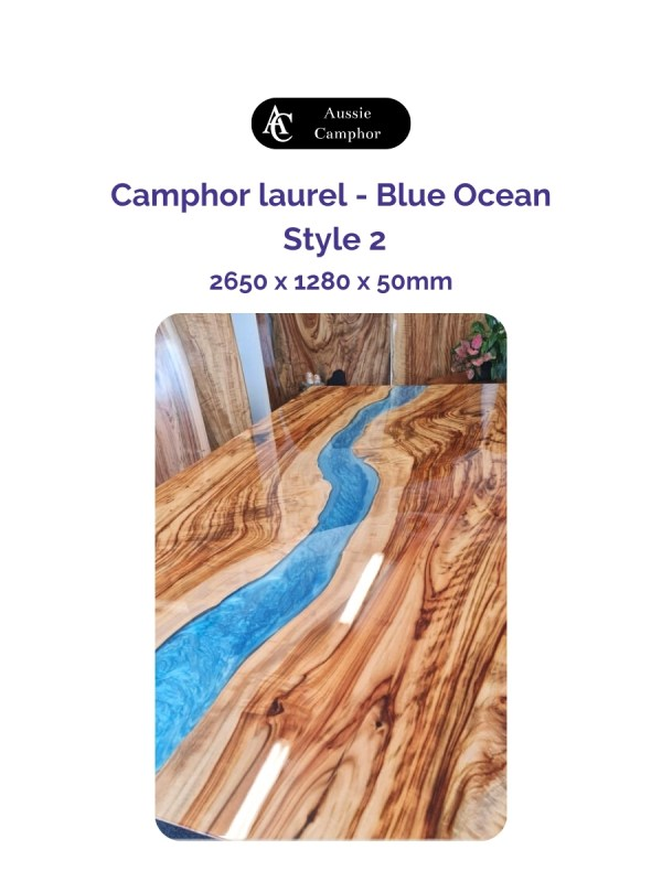 Resin finish table top - aussie camphor