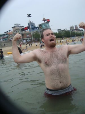 I give a triumphant roar and show of my muscles in the Yellow Sea.