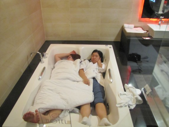 Molly and her friend sleep in a bathtub