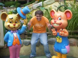 I pose with the characters in the Aesop's Village portion of the park. Yes, it's for kids.