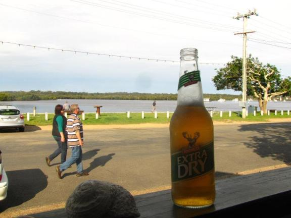 An ice cold bottle of Extra Dry on the veranda