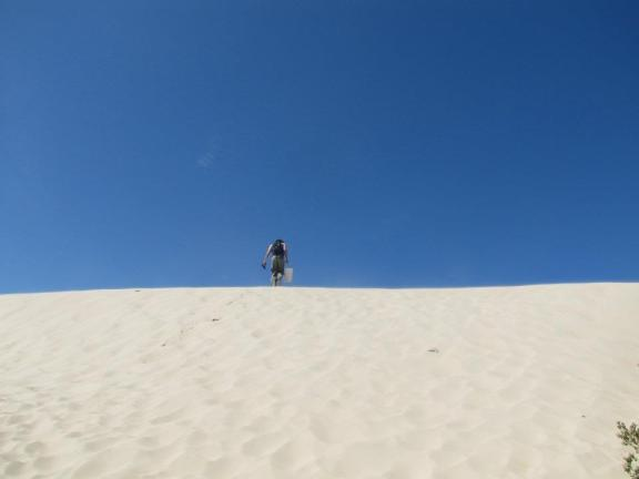 Dave stands atop a mountainous sand dune near Dark Point