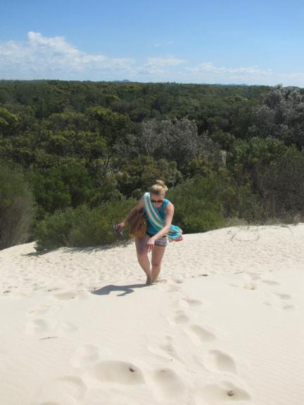 Steph struggles up the dunes at Dark Point