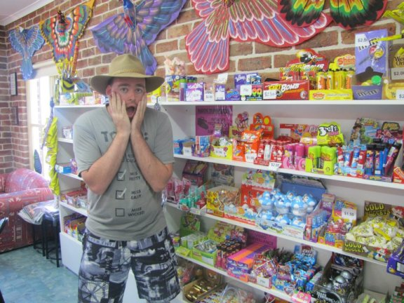 Excited by all of the candy at the candy shop