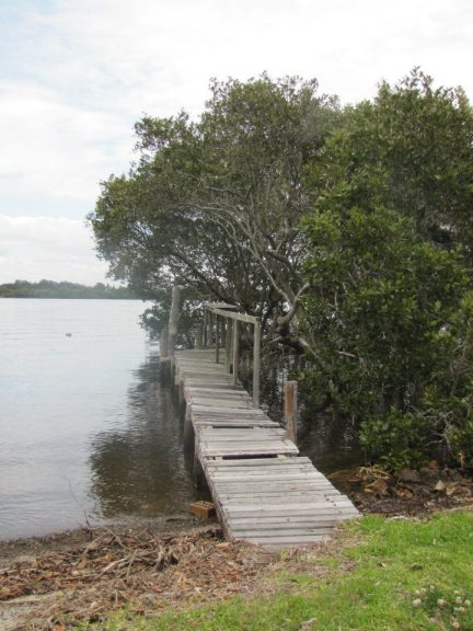 An old dock juts out over the Myall River