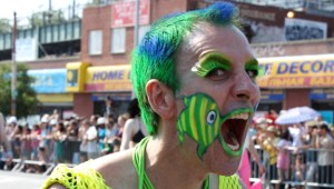 Face painted man at the Coney Island Mermaid Parade