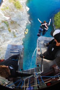 Mel bungie jumping in Queenstown