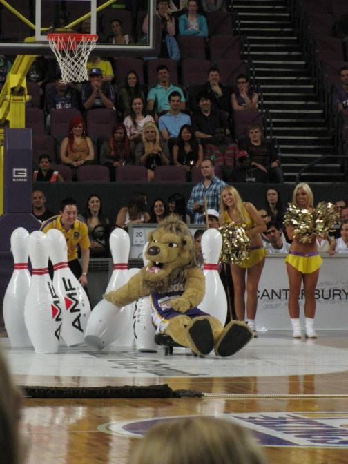 The Lion is sent into the pins while bowling at a Sydney Kings game